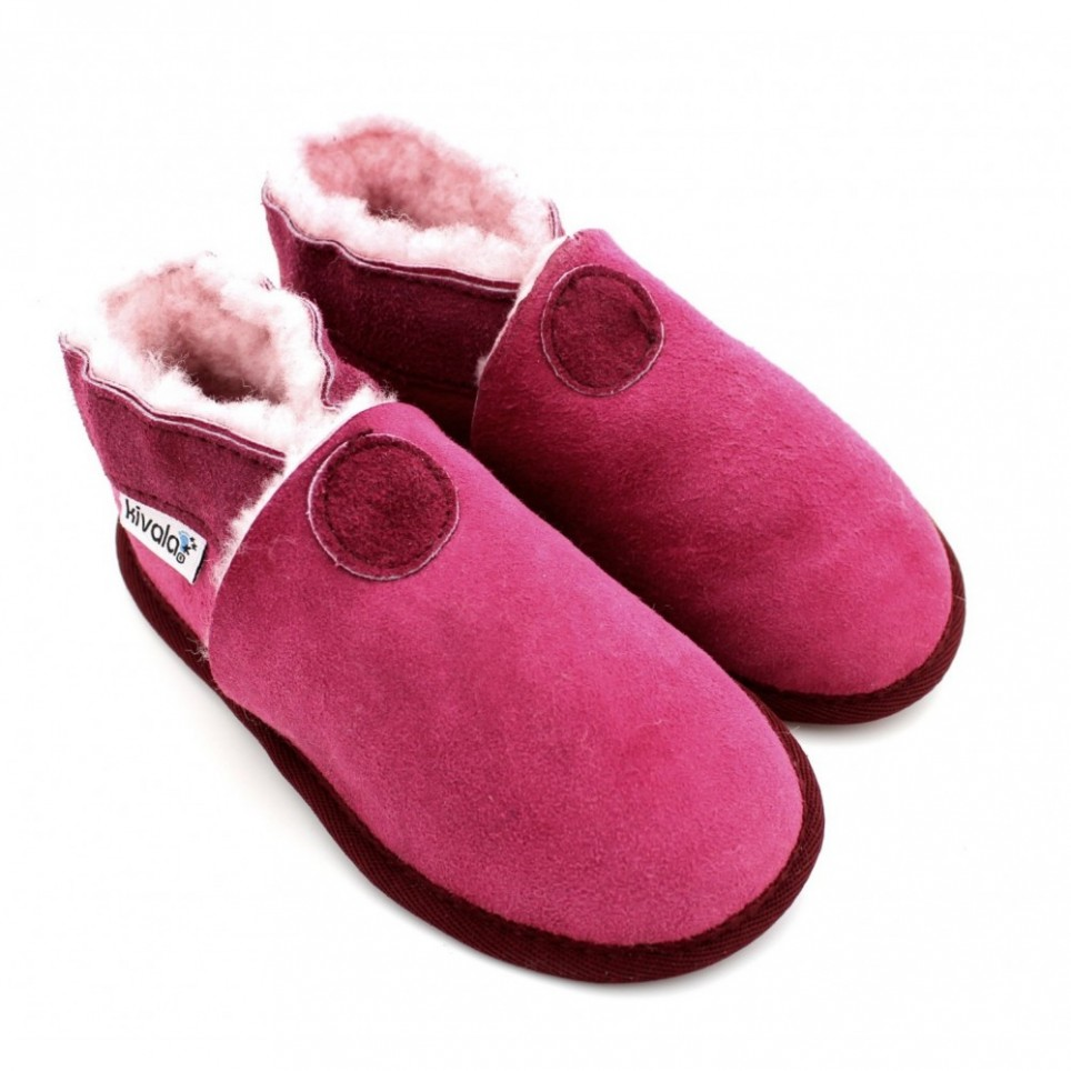 Chaussons souples fourres laine Perfection fuchsia