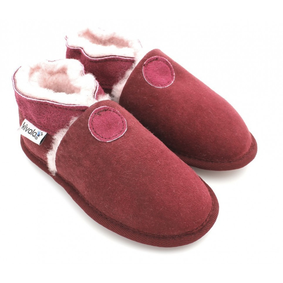 Chaussons souples fourres laine Perfection Bordeaux