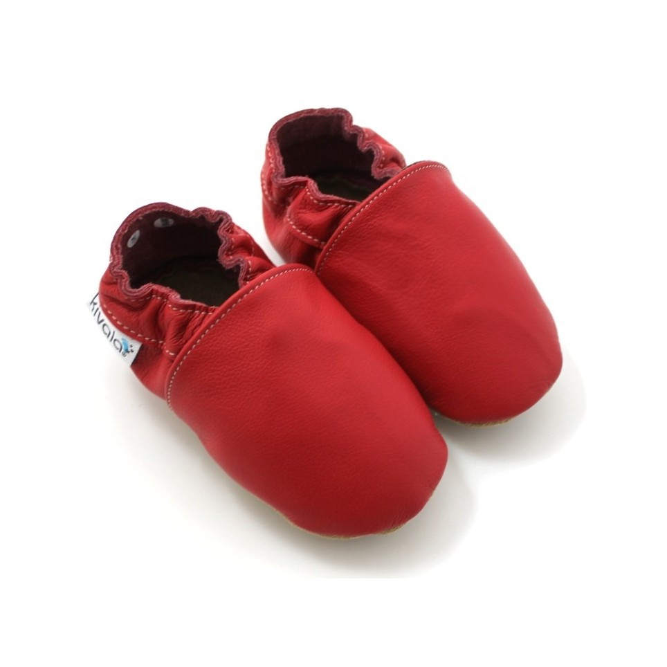 Chaussons cuir souple Rouge
