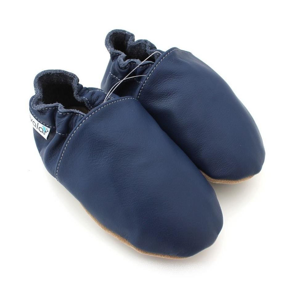 Chaussons cuir souple Marine