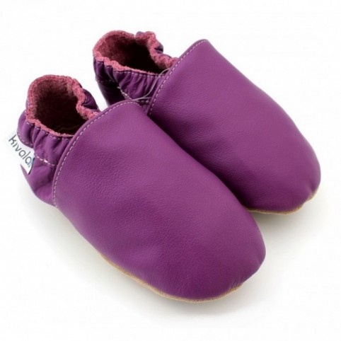 Chaussons cuir souple Prune