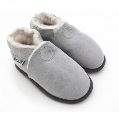 Chaussons souples fourres laine Perfection Gris