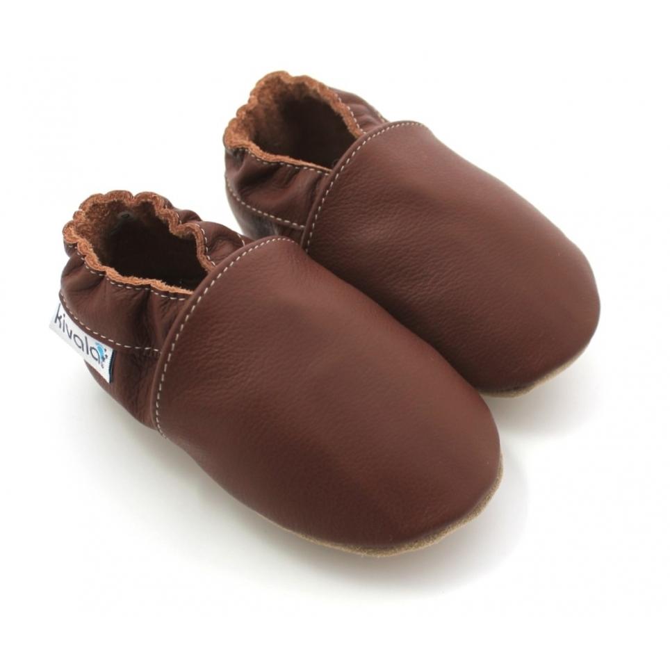 Chaussons en cuir souple Chocolat