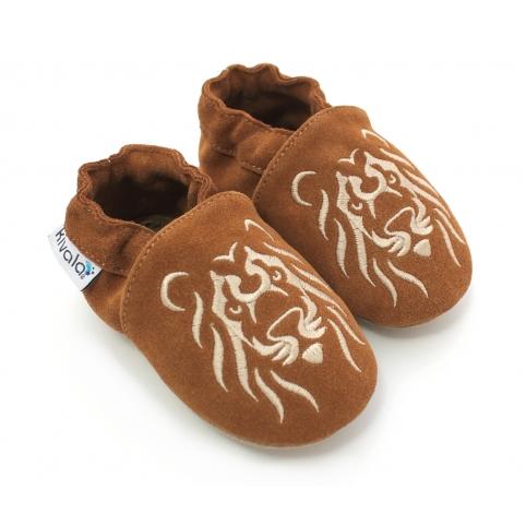 Chaussons cuir souple Lion