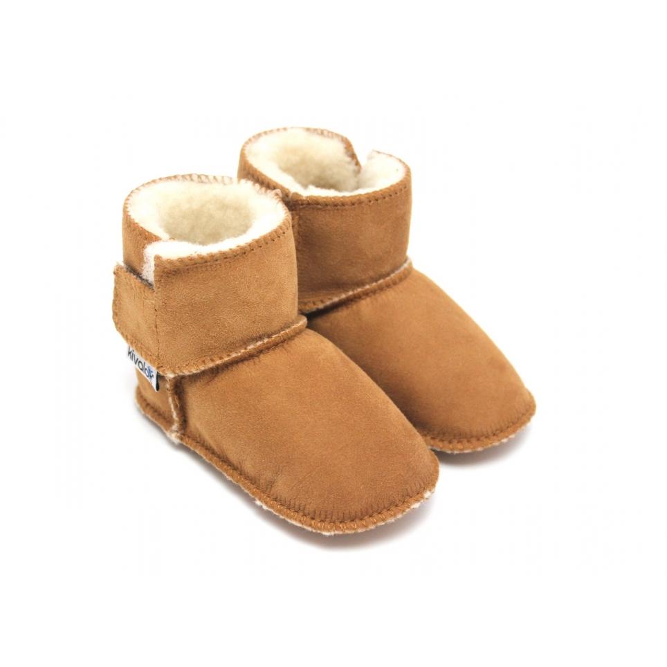 Bottines bébé en peau de mouton camel