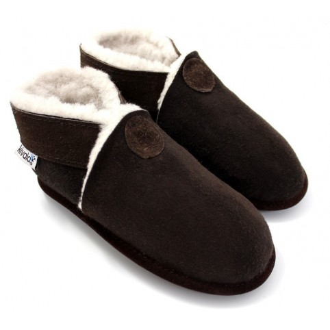 Chaussons souples fourres laine Perfection ebene